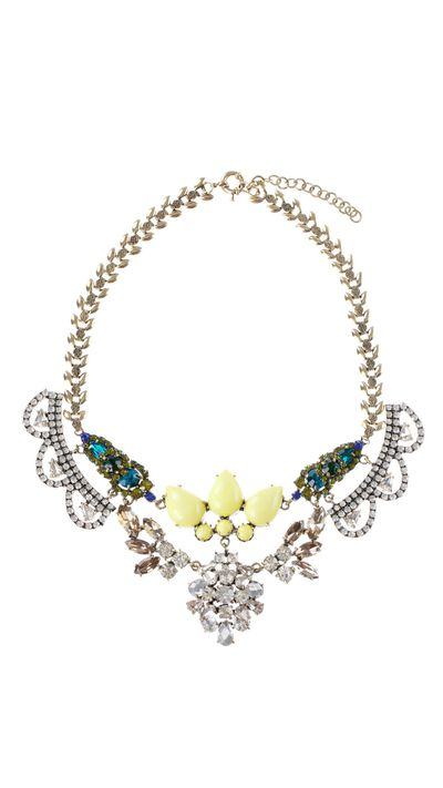 "<p>Wear a statement necklace under a shirt collar for buttoned up glamour.</p><a href=""http://www.theiconic.com.au/Vintage-Princess-Necklace-173490.html"" target=""_blank"">Necklace, $129, Vintage Princess Necklace at The Iconic</a>"