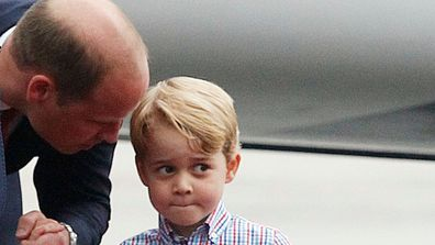 Prince George normally joins his dad Prince William to carry the groceries in.