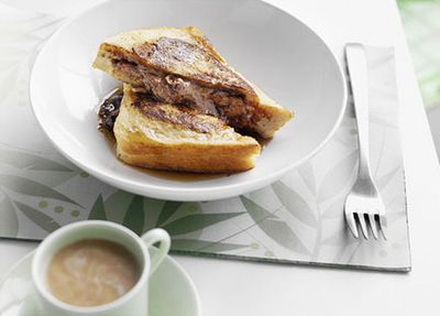 "Recipe: <a href=""http://kitchen.nine.com.au/2016/05/17/15/34/frenchtoasted-chocolate-and-banana-sandwiches"" target=""_top"">French-toasted chocolate and banana sandwiches</a>"