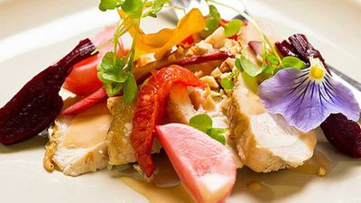 <strong>Chicken salad with pickled radishes, rhubarb and orange</strong>