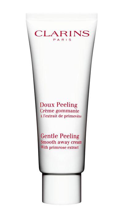 "<a href=""http://int.clarins.com/en/gentle-peeling-smooth-away-cream/C010201006.html?start=5"" target=""_blank"">Gentle facial scrub, $45, Clarins</a>"