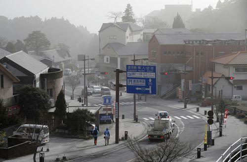 A photo taken in Kirishima shows volcanic ash blanketing a hot spring resort area. (AP)