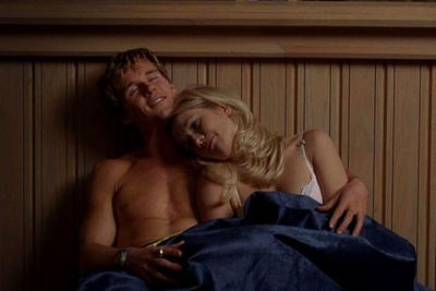 Jason (Ryan Kwanten) and Sarah (Anna Camp) relax after doing the naughty on a church balcony.