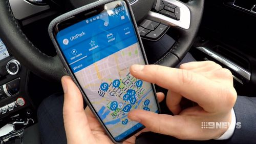 UbiPark uses the more than 4000 parking sensors throughout Melbourne's CBD to identify free car spaces. Picture: 9NEWS