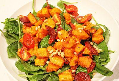"Recipe: <a href=""/recipes/ipumpkin/9059988/liliana-battles-roasted-pumpkin-tomato-salami-and-pine-nut-salad'"" target=""_top"">Roasted pumpkin and salami salad</a>"