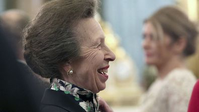 Britain's Princess Anne talks to guests during a reception at Buckingham Palace, as NATO leaders gather to mark 70 years of the alliance, in London, Tuesday, Dec. 3, 2019