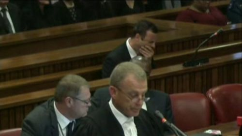Oscar Pistorius was seen yawning as the prosecution delivered its final comments.