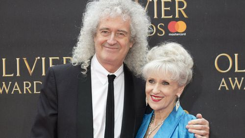 Queen guitarist Brian May and Anita Dobson. (AAP)