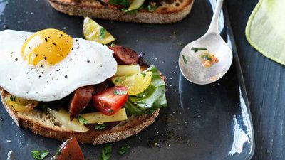 "Recipe: <a href=""http://kitchen.nine.com.au/2017/05/19/10/01/hayden-quinn-tomato-breakfast-salad-with-chorizo-herbs-eggs-and-bread"" target=""_top"">Hayden Quinn's tomato breakfast salad with chorizo, herbs, eggs and toast</a>"