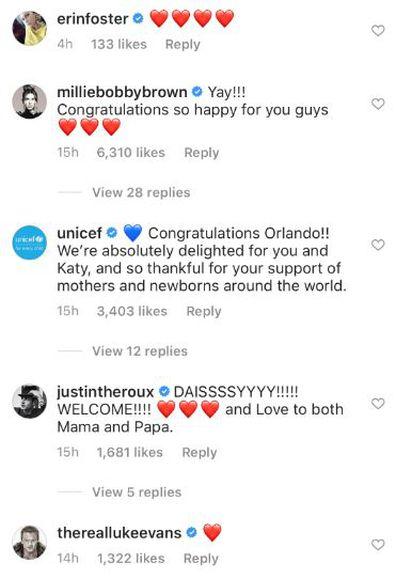 Katy Perry, Orlando Bloom, baby, celebrity commennts, congratulations