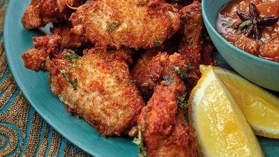 "11.)<a href=""https://kitchen.nine.com.au/2017/09/13/21/12/phuljhari-murgh-firecracker-fried-chicken-wings"" target=""_top"">Phuljhari murgh firecracker fried chicken wings</a>"
