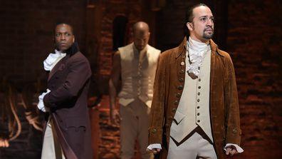 Leslie Odom, Jr., Lin-Manuel Miranda, perform, Hamilton, Broadway