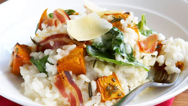Pumpkin, spinach and pancetta risotto