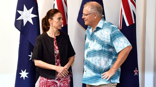 NZ PM Jacinda Ardern and Mr Morrison yesterday.