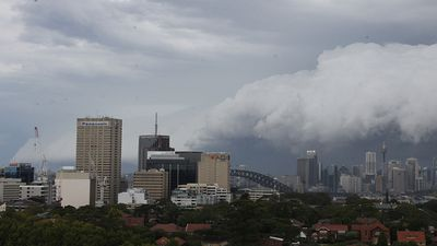 A photo of the storm front taken from Crows Nest (Supplied: Portia Carey)