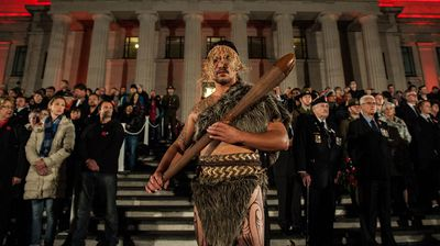 The ANZAC Day Service held at the Auckland War Memorial Museum Cenotaph. (AAP)
