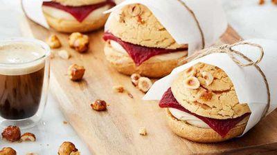 "Recipe:&nbsp;<a href=""http://kitchen.nine.com.au/2017/06/07/13/26/anna-polyvious-choux-burger"" target=""_top"">Anna Polyviou's choux burger with vanilla hazelnut choux, cherry jelly and Expressi coffee chantilly cream</a>"