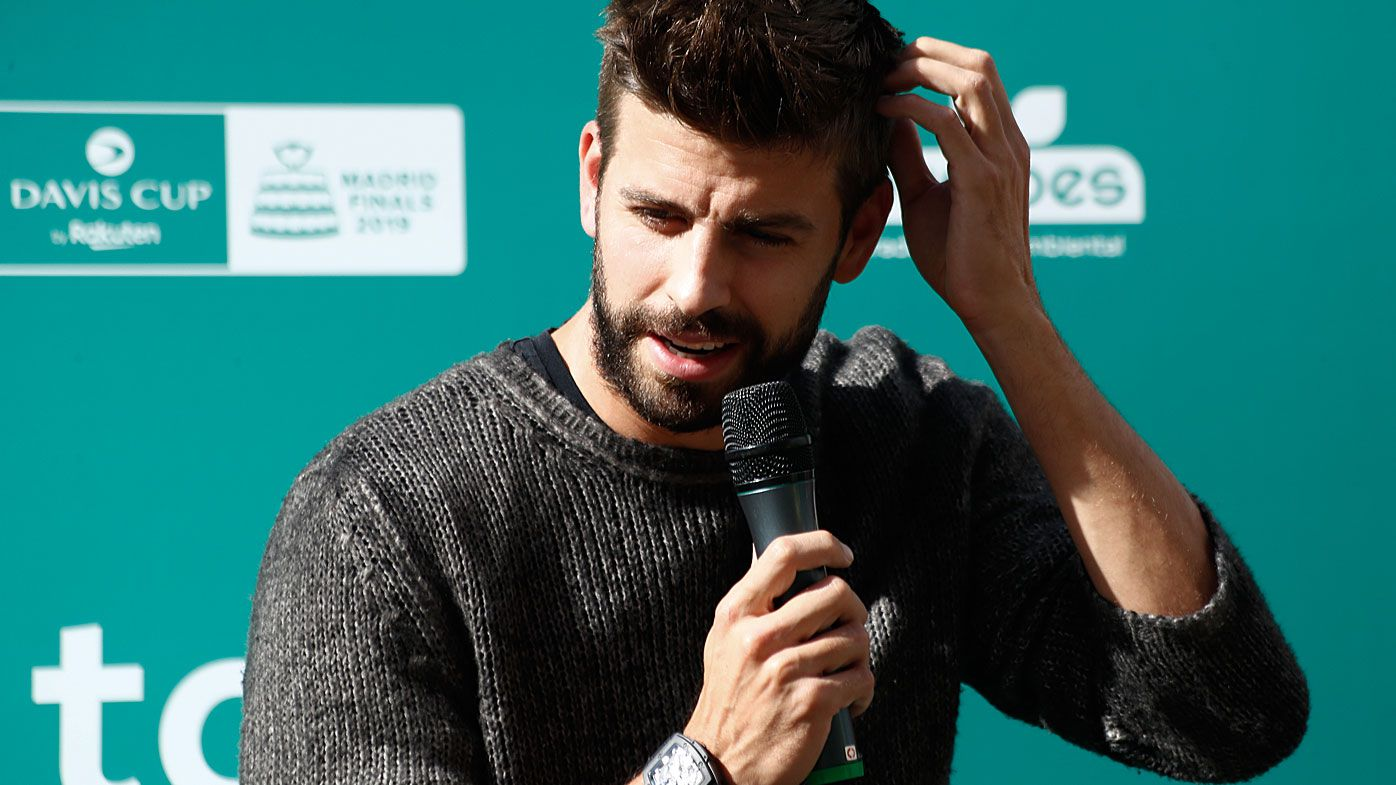 Gerard Pique, Spanish football player of FC Barcelona and President of Kosmos for Davis CUP of Tennis
