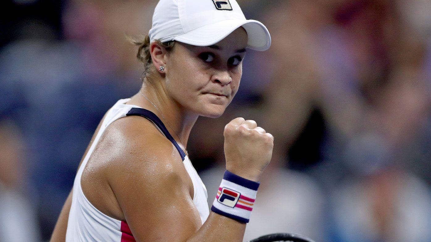 Ashleigh Barty of Australia reacts during her Women's Singles second round match against Lauren Davis