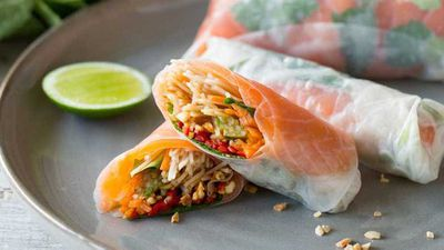 "<a href=""http://kitchen.nine.com.au/2017/03/06/10/41/vietnamese-cold-smoked-salmon-rice-paper-rolls"" target=""_top"">Vietnamese cold smoked salmon rice paper rolls</a> recipe"