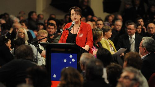 Labor MP Penny Sharpe speaks at Town Hall, Sydney. (AAP)