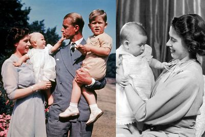 These touching photos show <b>Queen Elizabeth</b> and <b>Philip </b>with the first colour photgraph of <b>Princess Anne</b> with older brother,<b> Prince Charles</b>. On the right is baby Charles. You can the Prince already has his trademark ears!