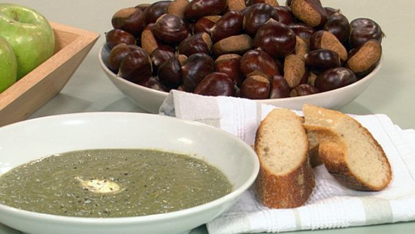 Chestnut & spinach soup