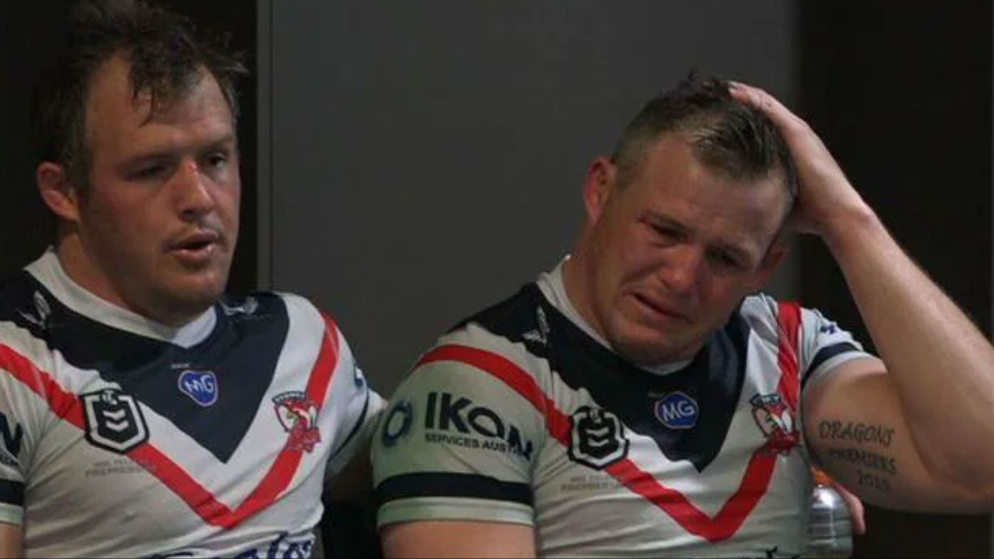 Josh Morris comforts brother Brett after a potentially career-ending injury.