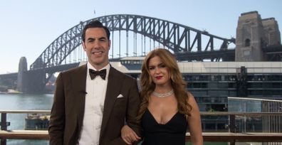 Isla Fisher and husband Sacha Baron Cohen crossed live to the Oscars from Sydney on April 26, 2021.
