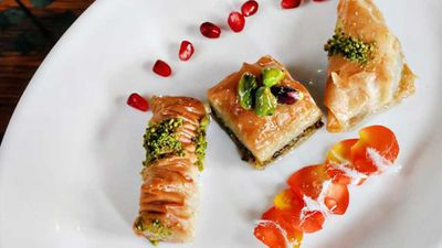 "Click through for&nbsp;<a href=""http://kitchen.nine.com.au/2016/08/26/12/13/somer-sivrioglus-gaziantep-style-traditional-pistachio-baklava"" target=""_top"">Somer Sivrioglu's Gaziantep style traditional pistachio baklava</a>"
