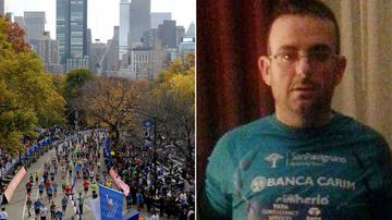 Gianclaudio Marengo (right) disappeared after finishing the New York City Marathon on Sunday. (AP)