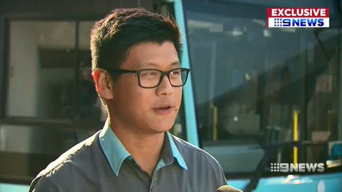 Sydney bus driver Ray Zhou, 22, said he put into action the 'best course of action' yesterday when a man turned violent. Picture: 9NEWS.