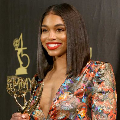 Lori Harvey poses with Outstanding Informative Talk Show Host award on behalf of Steve Harvey and 'STEVE' in the press room during the 45th annual Daytime Emmy Awards at Pasadena Civic Auditorium on April 29, 2018.