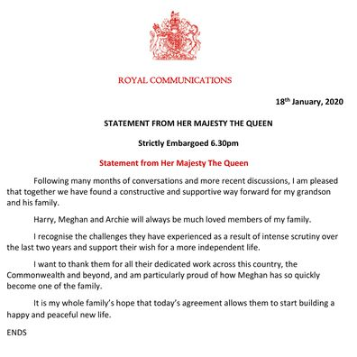 """This handout issued by Buckingham Palace on Saturday, Jan. 18, 2020 shows a statement from Britain's Queen Elizabeth. Buckingham Palace says Prince Harry and his wife, Meghan, will no longer use the titles """"royal highness"""" or receive public funds after a deal was struck for them to step aside as senior royals. The palace says the couple will repay some 2.4 million pounds ($3.1 million) of taxpayers' money that was spent renovating their home near Windsor Castle. (Buckingham Palace via AP)"""