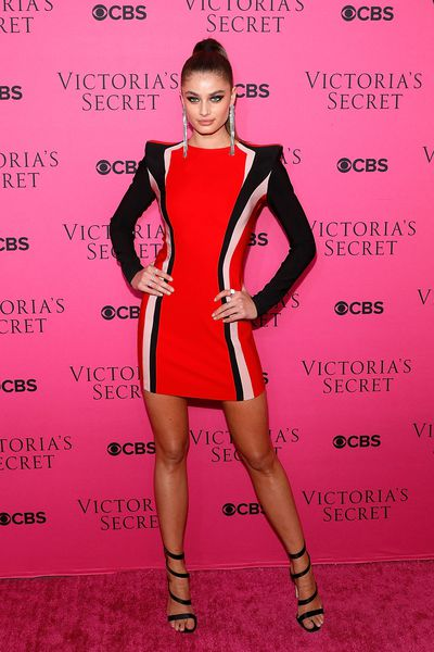 Taylor Hill in Mugler at the Victoria's Secret viewing party in New York.