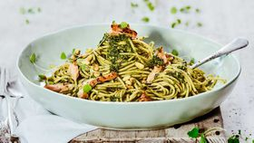 Pesto smoked salmon pasta