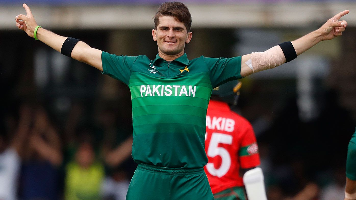 Pakistan's Shaheen Afridi celebrates after taking the wicket of Bangladesh's Liton Das