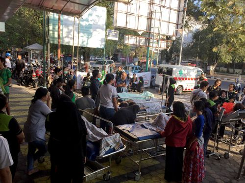 A local hospital was evacuated onto the street outside. Picture: AAP