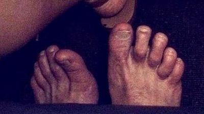 """Big Foot is real – and he doesn't like to clip his toenails. An Australian passenger on board a recent domestic flight has told of her fright after waking up to find a pair of large, dirty feet beneath her. """"This photo was taken on the Darwin to Adelaide flight… I woke up to these in normal economy! Couldn't image what minus would be like,"""" she wrote in reference to news airlines were considering introducing """"minus economy"""". """"I was sleeping and they scared the crap out of me,"""" the woman, Camille, told NT News. """"Having seen (the movie) 'Snakes on a Plane' definitely didn't help the situation."""" It's not the first time inconsiderate passengers have been shamed on social media; scroll through our glance to discover some of the most disgusting passenger shaming photos around. (All images Instagram)"""