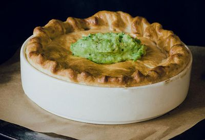 Hobba's smoked fish pie with pea pesto