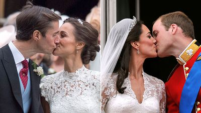 6. Pippa and Kate share a kiss with their new husbands.
