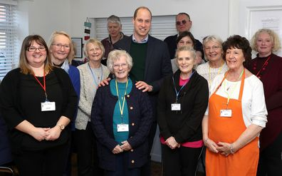 Prince William with volunteers at The Beacon centre