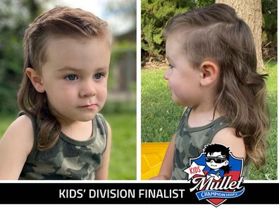 A split image of a child with a mullet, left shows the front side and the right image shows the back of the mullet.