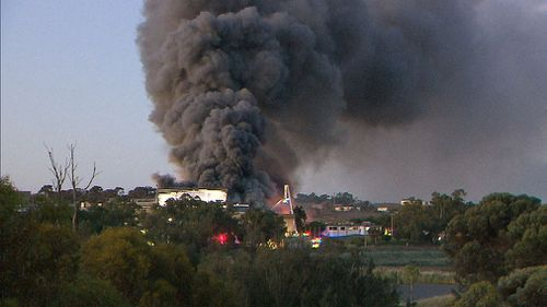 The fire gutted the 8000 square metre property. (9NEWS)