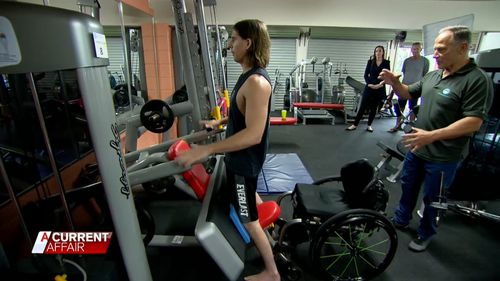 Alex Lawrie can now stand with help thanks to his training with NeuroPhysics.