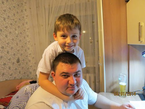 Sergey with his dad Evgeny, who died in the fire. (The Siberian Times)