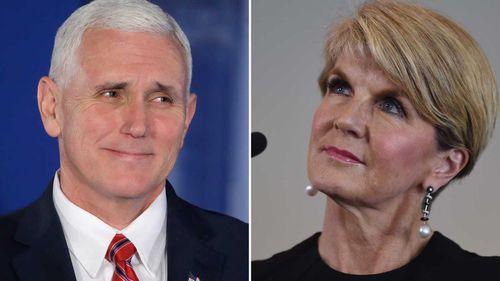Mike Pence and Julie Bishop. (AAP)