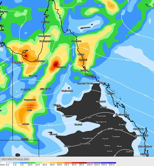 Far North Queensland is also forecast to receive up to a further 80mm of rain in parts today, with the Herbert River near Ingham expected to peak (Weatherzone).