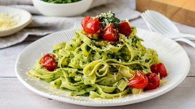 "Recipe: <a href=""http://kitchen.nine.com.au/2017/09/27/14/16/green-herb-pesto-linguine"" target=""_top"">Green herb pesto linguine</a>"