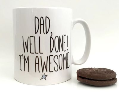 "<a href=""https://www.hardtofind.com.au/99369_well-done-dad-fathers-day-mug"" target=""_blank"">Well Done Dad Father's Dad Mug, $40.</a>"